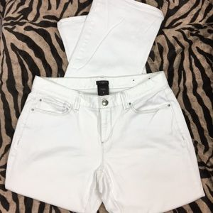 Ann Taylor White Bootleg Jeans Stretchy